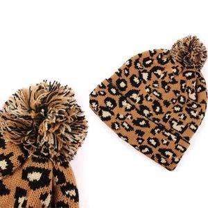 Leopard Pom Beanie Knit Winter Hat (Camel)